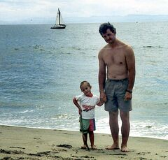 KRT SPORTS STORY SLUGGED: KILLION-COLUMN KRT PHOTOGRAPH VIA SAN JOSE MERCURY NEWS (KRT500-April 27)  San Jose Shark�s coach Darryl Sutter poses with son Christopher during a family outing. Christopher suffers from Down�s Syndrome. (SJ) PL (jak19106) 1998 (COLOR)