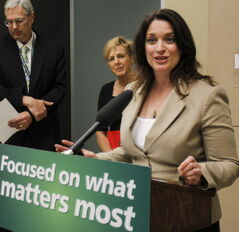 Manitoba Health Minister Erin Selby addresses the media in 2013.