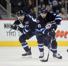 The Jets are likely to ice the same lineup Saturday which keeps Michael Frolik, left, at centre.