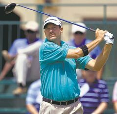 Bart Bryant, of Windermere, FL, tees off on the 1st hole, during the third round of the Puerto Rico Open, at the Trump International Golf Club, in Rio Grande, Puerto Rico, Saturday, March 14, 2009. Bryant goes into the final round tied for third at 8 under par. (AP Photo/Brennan Linsley)