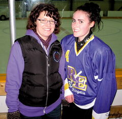 Louise Dowhan-Bertouille and daughter Kelsey are both active members of the Winnipeg Ringette League.