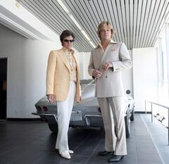 Actor Michael Douglas (left) as Liberace and Matt Damon as Scott Thorson are shown in a scene from the Steven Soderbergh film
