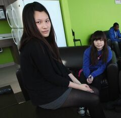 Ching Man Wan (left) and Yan Ting Lai, two of the three students Chong had housed in the 2011-12 school year.
