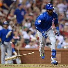 Chicago Cubs' Jorge Soler heads to first on his two-run home run against the St. Louis Cardinals in the eighth inning of a baseball game, Friday, Aug. 29, 2014, at Busch Stadium in St. Louis. (AP Photo/Bill Boyce)