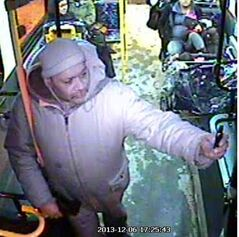 A photo of a suspect in an incident in December in which a Transit driver was threatened.