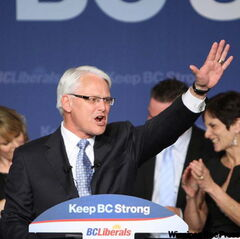 B.C. Liberal leader Gordon Campbell celebrates his election win in May 2009. Campbell and most of his Liberal cabinet were re-elected, giving Campbell a rare third mandate.