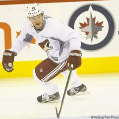 Phoenix Coyotes captain Shane Doan, a former member of the original Winnipeg Jets, practises at the MTS Centre Wednesday.