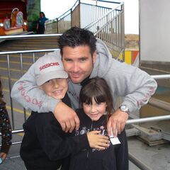 FILE - This undated file photo provided Tuesday April 5, 2011 by John Stow shows Bryan Stow holding his 12-year-old son and 8-year-old daughter. Bryan Stow a San Francisco Giants fan who suffered brain damage in a beating at Dodger Stadium won his negligence suit against the Los Angeles Dodgers on Wednesday, but former owner Frank McCourt was absolved by the jury, Wednesday July 9, 2014.(AP Photo/John Stow, File)