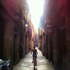 This undated photo provided by Crystal Cruises shows a woman bicycling on a street in Barcelona, Spain. The elegance of luxury cruising can be combined with active adventures on trips that offer excursions such as bike tours in port. (AP Photo/Crystal Cruises)