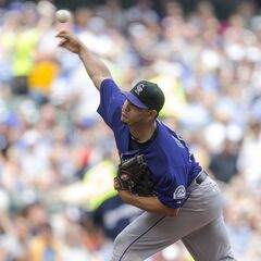 Jhoulys Chacin of the Colorado Rockies pitches to a Milwaukee Brewers batter during the first inning of a baseball game Saturday, June 28, 2014, in Milwaukee. (AP Photo/Tom Lynn)