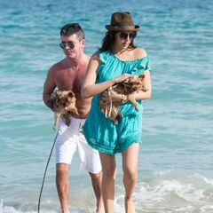 Simon Cowell and Lauren Silverman on Miami Beach