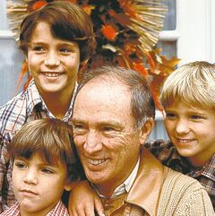 Pierre Trudeau shown with sons Justin (upper left), Michel (lower left), and Sacha, in 1982.