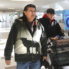Manitoba Elder Raymond Robinson from Cross Lake left to join Spence in Ottawa this week.