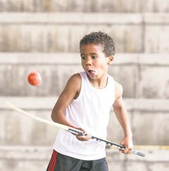 The heat and haze didn't faze Austin Peters, 8, as he competed in a ball-hockey fundraiser game at the Scotiabank stage at The Forks on Saturday. The Five Hole For Food group is travelling across Canada to raise money for local charities. Siloam Mission was the beneficiary this year.