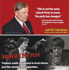 The front and back of a leaflet attacking Justin Trudeau, is shown. THE CANADIAN PRESS/HO