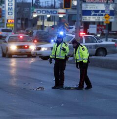 Winnipeg police investigate after a man was hit by a taxi earlier today on Stapon Road and Regent Avenue.