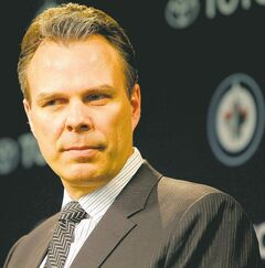 FULL CLOSE CUT CLOSECUT - Kevin Cheveldayoff, executive vice-president and general manager of the Winnipeg Jets, addresses the media Tuesday at the MTS Centre.  April 10, 2012  BORIS MINKEVICH / WINNIPEG FREE PRESS