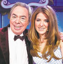 Danielle Wade poses with Andrew Lloyd Webber.
