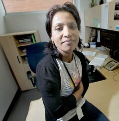 Settlement assistance counsellor Dhirta Subedi in her office at the Welcome Place.