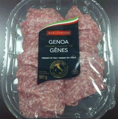 A package of Marc Angelo brand Genoa Salami, recalled due to Listeria monocytogenes, is pictured in a handout photo released on Aug. 6, 2014. THE CANADIAN PRESS/HO, Canadian Food Inspection Agency
