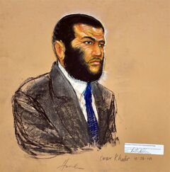 A Pentagon-approved sketch by artist Janet Hamlin shows Omar Khadr listens during testimony by Dr. Wellner at the U.S. military war crimes commission at the Camp Justice compound on Guantanamo Bay U.S. Naval Base in Cuba, on October 26, 2010. Former Guantanamo Bay inmate Khadr is expected to make his first appearance in public since American soldiers captured him as a badly wounded 15-year-old in Afghanistan 11 years ago.THE CANADIAN PRESS/POOL, Janet Hamlin