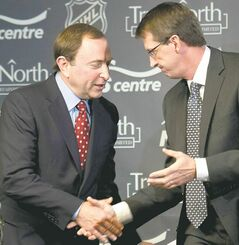 True North Sports and Entertainment Limited chairman Mark Chipman (right) and NHL commissioner Gary Bettman are on friendly terms.