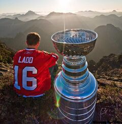 Winnipeg Jets forward Andrew Ladd, formerly of the Stanley Cup champion Chicago Blackhawks, spent his day with the Stanley Cup atop Crown Mountain, B.C., north of Vancouver, on Monday, July 19, 2010. He signed a long-term deal with Winnipeg Tuesday.