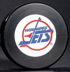 A Winnipeg Jets puck from the archives.