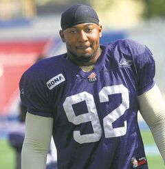 Winnipeg Blue Bombers Bryant Turner at  practice.
