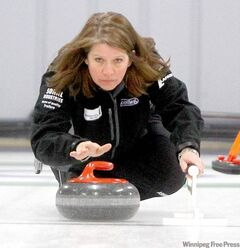 East St. Paul skip Kim Link throws a rock during the final of the Curl Manitoba Women's Bonspiel at the Thistle Curling Club.
