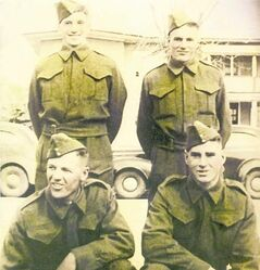 William Bell (bottom right). His brother, Gordon Bell, (top left) died in a POW camp. Friend Denis Matthews (bottom left) died in battle and his brother, Norman Matthews, (top right) died in POW camp.