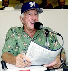 FILE - In this July 7, 2003 photo,  Milwaukee Brewers' radio announcer Bob Uecker works during a baseball game between the Brewers and  the Pittsburgh Pirates  at Miller Park in Milwaukee.   A Wisconsin appeals court on Wednesday, Jan. 27, 2010,  rejected a defamation lawsuit filed against the Brewers and Uecker. The lawsuit filed by Ann Ladd of Prospect Heights, Ill., claims she has been unfairly portrayed as Uecker's stalker.  Last month, a separate Wisconsin appeals court upheld the restraining order against Ladd. She argued that preventing her from attending Brewers games violated her constitutional right to travel, but the court disagreed.  (AP Photo/Morry Gash)