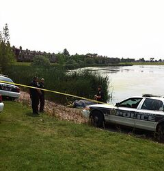A body was recovered in an Albina Park retention pond early this afternoon.