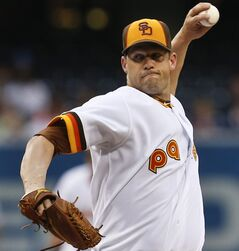 San Diego Padres starting pitcher Eric Stults delivers a pitch against the Chicago Cubs during the first inning of a baseball game Thursday, May 22, 2014, in San Diego. (AP Photo/Lenny Ignelzi)