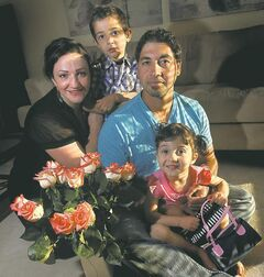 Hani Al-Ubeady with wife Mernisa and their Canadian-born kids Benamru, 4, and Mina, 3. 'I'm not saying I'd hate to be rich, but there's a component of satisfaction and contentment you get from living here.'