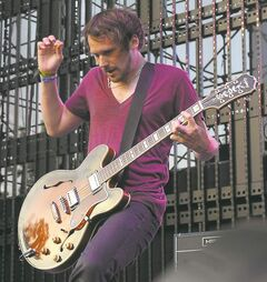 Brian Aubert of Silversun Pickups performs live at The 2010 KROQ Weenie Roast on Saturday June 5, 2010 at The Verizon Wireless Ampitheaer in Irvine, Calif. (AP Photo/Katy Winn)