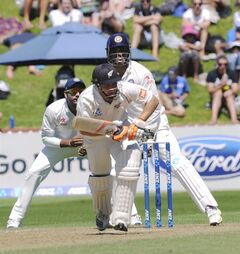 New Zealand's BJ Watling sets off in a run against India on the third day of the second cricket test at Basin Reserve in Wellington, New Zealand, Sunday, Feb. 16, 2014. (AP Photo/SNPA, Ross Setford) NEW ZEALAND OUT