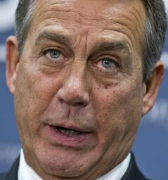 House Speaker John Boehner of Ohio, who conferred with President Barack Obama by phone yesterday, speaks during a news conference on Capitol Hill in Washington Wednesday following a closed-door meeting with the GOP caucu. Boehner and the other House Republican leaders are calling for Obama to come up with plan they can accept for spending cuts and tax revenue to avoid the so-called