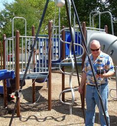 The Triax 2000 machine tests the hardness of playground surfaces, showing results on a graph that can be uploaded to a computer.