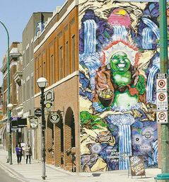 Colourful, well-executed grafitti attest to Osborne Village's artistic side.