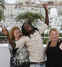 From left actors, Inge Maux, Peter Kazungu, and Margarethe Tiesl pose during a photo call for Paradise: Love at the 65th international film festival, in Cannes, southern France, Friday, May 18, 2012. (AP Photo/Lionel Cironneau)