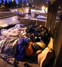 Five students slept outside University Centre at the University of Manitoba overnight as part of Five Days for the Homeless.