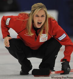 Winnipeg's Jennifer Jones faces Glenn Howard in skins action Saturday.