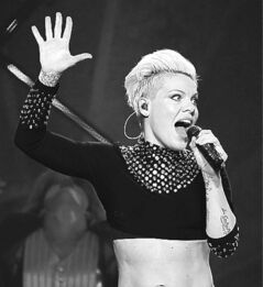 Pink performs in Winnipeg on Tuesday.
