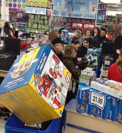 Shoppers were at Toys R Us in the Polo Park area early this morning.