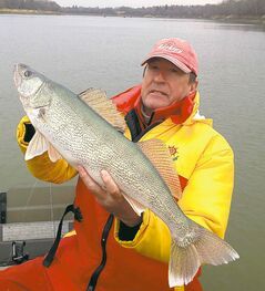 Don Lamont holds a walleye he caught last October on the Red River.