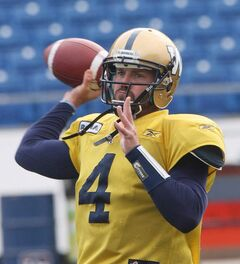 Winnipeg Blue Bomber QB Buck Pierce was taking reps Monday at Canad Inns Stadium in Winnipeg. He is back after being injured for a lengthy time and he will start Friday at home against the Hamilton Tiger-Cats.