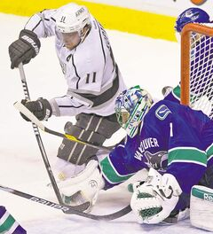 Anze Kopitar is stopped by Roberto Luongo Jan. 17: Cory Schneider's rise means Lou isn't the key player he once was.