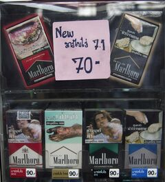 FILE - In this Aug. 27, 2013 file photo, cigarette packages are displayed for sale at a shop in Bangkok. (AP Photo/Sakchai Lalit, File)