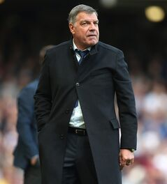 West Ham's manager Sam Allardyce watches his team play from the technical area during their English Premier League soccer match between West Ham United and Tottenham Hotspur at the Boleyn stadium in London Saturday, May 3 2014. (AP Photo/Alastair Grant)